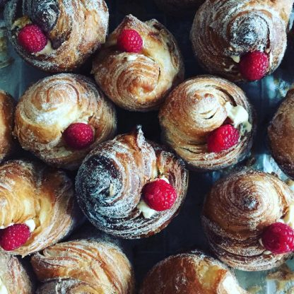 A selection of raspberry cruffins