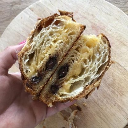 A cross section of a Coconut Pain au Chocolat